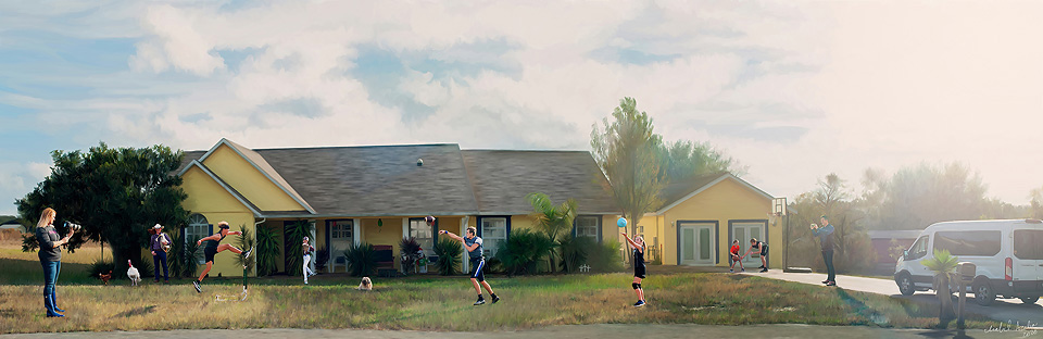 Painted portrait of the sports family in Orlando Florida.