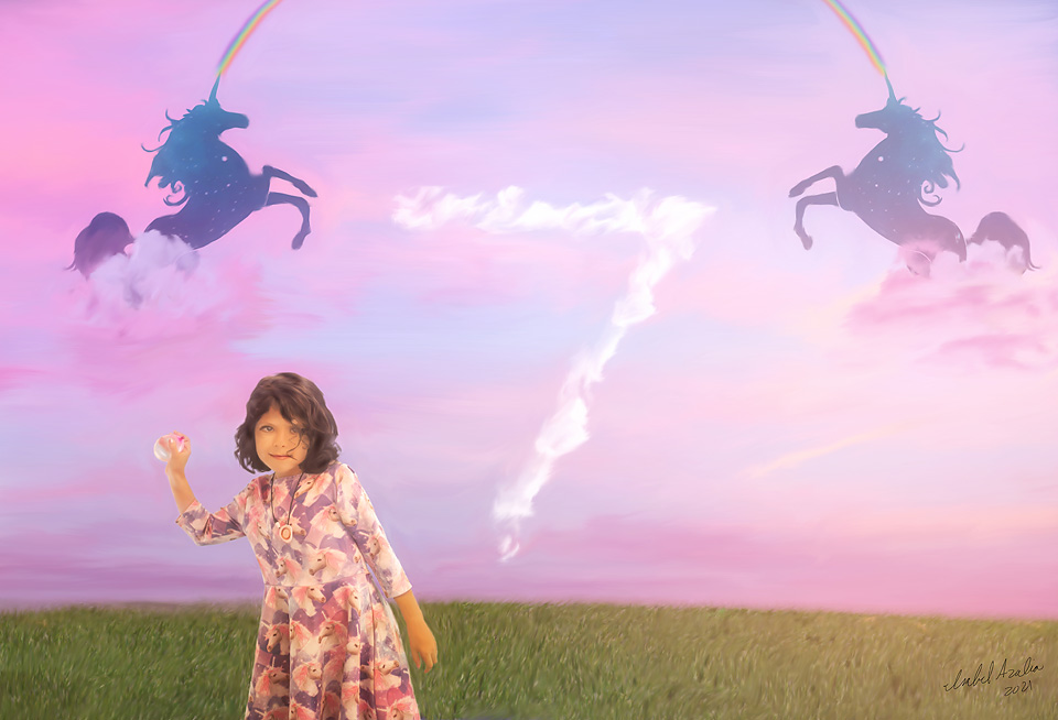 Girl in unicorn dress holding a pink water balloon with a pink sky behind her. In the pink sky are clouds forming the number seven and two unicorns with rainbows coming out of their horns. Orlando children's portraits.